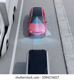 Front view of red SUV emergency braking to avoid car crash. Automatic Emergency Braking (Emergency brake system) concept. 3D rendering image.