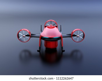 Front view of red VTOL drone with delivery packages on black background. 3D rendering image.