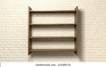 A front view of a regular cleared wooden shelving unit on an cream brick wall with copy space