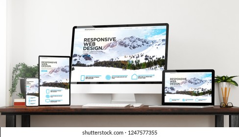 front view responsive mountain website devices home website 3d rendering
