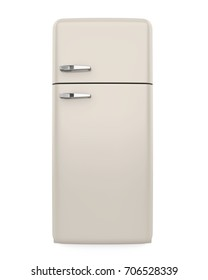 Front View of Retro Refrigerator Isolated. 3D rendering