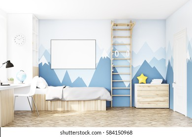 Front view of a kidâ??s room with a bed, a bookcase and a table standing under a window. There is a ladder for physical activities to the right. 3d rendering. Mock up.