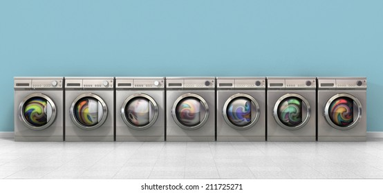 A front view of a row of regular brushed metal washing machines filled with clothing in an empty room with a shiny tiled floor and a baby blue wall
