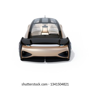 Front view of self driving electric car isolated on white background. 3D rendering image.