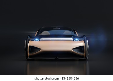 Front view of self driving electric car on black background. 3D rendering image.