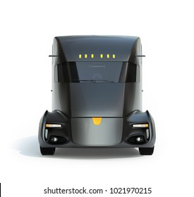 Front view of self-driving electric semi truck isolated on white background. 3D rendering image.