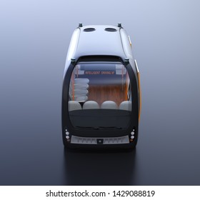 Front view of self-driving shuttle bus on black background. 3D rendering image.