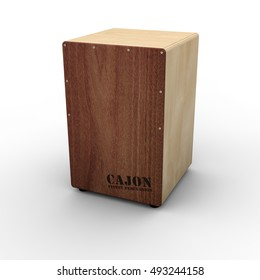 Front view of a single cajon drum on white background, including clipping path. 3d render