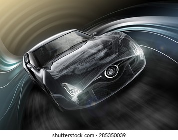 Front view of sports car with dynamic graphic motion blur and wire frame effects. Original design with clipping path.