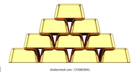 Front view of Stack of gold bullions isolated on white background. 3D rendering illustration of Gold Bars stacked in the shape of pyramid as a investments financial banking concept.
