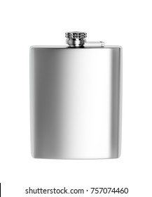 Front view of stainless steel hip flask, isolated on white background. 3D illustration