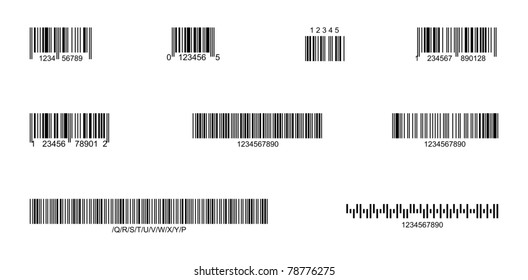 Front view of standard bar codes
