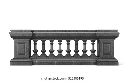Front view stone balustrade on white background. 3d rendering.