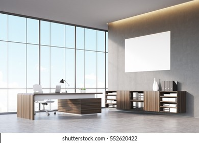 Front view of a sunlit CEO office with wooden furniture, panoramic window and a horizontal poster on a gray wall. 3d rendering. Mock up.