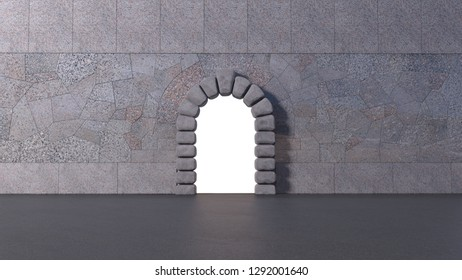Front view of tiled granite wall with cyclopean stone gate and asphalt floor. White isolated opening in horizontal 3d render.