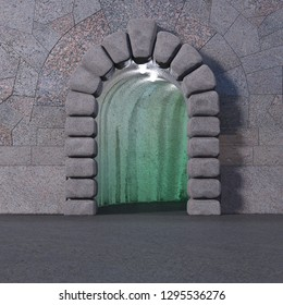 Front view of tiled granite wall with cyclopean stone gate entrance, asphalt floor, and green light inside the cave. Square 3d render.