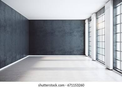 Front view of unfurnished spacious black interior with windows, city view and sunlight. Mock up, 3D Rendering