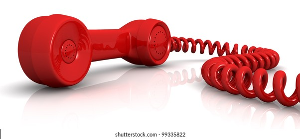 front view of a vintage handset with a spiral cable (3d render)