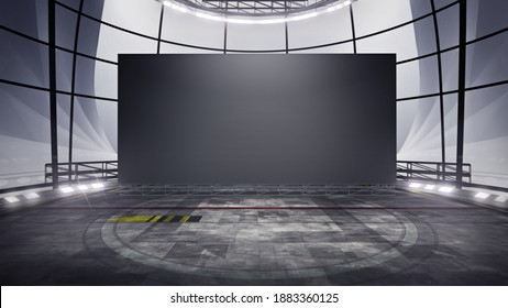 Front view of a Virtual studio background with a big empty videowall display ideal for tv shows, commercials or events. Suitable on VR tracking system stage sets, with green screen. (3D rendering)