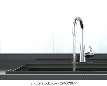 front view of water flows from the kitchen faucet to sink