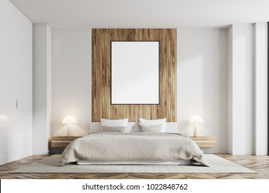 Front view of a white and dark wooden bedroom with a vertical poster on a dark wooden wall and a gray blanket bed. 3d rendering mock up
