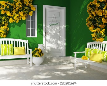 Front view of white door on a green house with window. Beautiful yellow roses and benches on the porch. Entrance of a house.