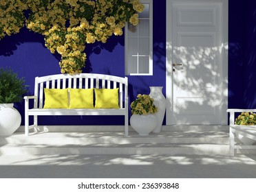 Front view of white door on a dark blue house with window. Beautiful yellow roses and bench on the porch. Entrance of a house.