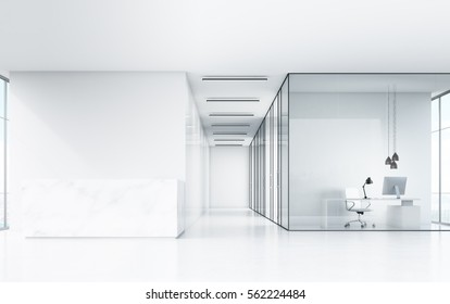 Front view of white office with marble desk, toned