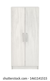 Front view of white wooden wardrobe on white background, 3D illustration