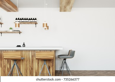 Front view of a wooden bar stand with stools standing near it. A modern bar interior with shelves with wine bottles and plates. 3d rendering mock up