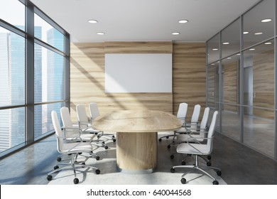 Front view of a wooden conference room interior with a long table and two rows of white office chairs by its sides. Horizontal poster. 3d rendering, mock up