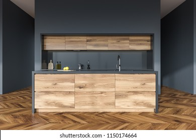 Front view of a wooden floor kitchen interior with wooden and gray countertops in a gray wall room. 3d rendering mock up