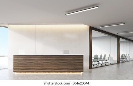 Front view of wooden reception counter standing in modern establishment lobby with plastic and wood walls. Concept of minimalism. 3d rendering. Mock up.