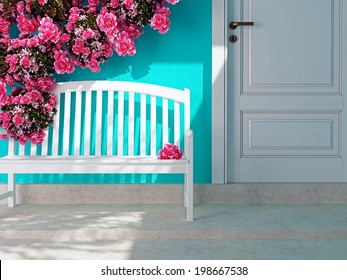 Front view of a wooden white door on a blue house. Beautiful roses and bench on the porch. Entrance of a house.