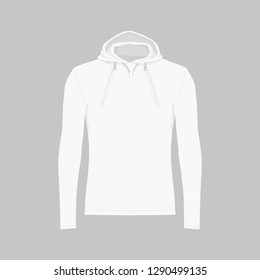 Front views of men's white hooded sweatshirt on gray background