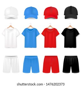 Front Views Of T-shirt And Baseball Cap And Short On White Background