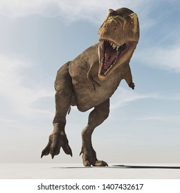 Frontal image of Tyrannosaurus Rex walk . This is a 3d render illustration