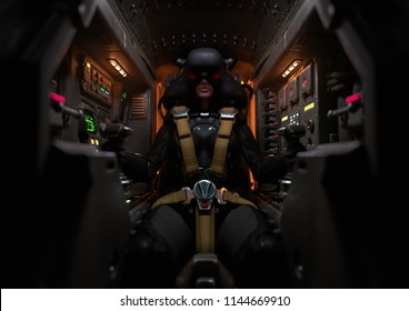 Frontal view of a female pilot sitting in the cockpit. Mech Pilot with fastened yellow seat belts. Girl wearing a futuristic VR helmet. Woman using virtual reality headset. Sci-fi cabin. 3d rendering.