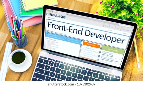 Front-End Developer - Your Next Job, Apply Today. Hiring Concept. 3D.