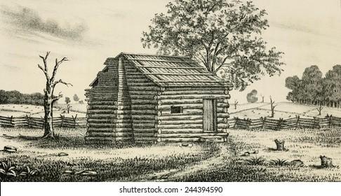 A frontier Presbyterian Church. The log cabin church was built in western Pennsylvania. Ca. 1800.