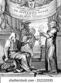 Frontispiece of Galileo's 'De Systemate mundi' depicting Aristotle, Ptolomy, Copernicus, 1635