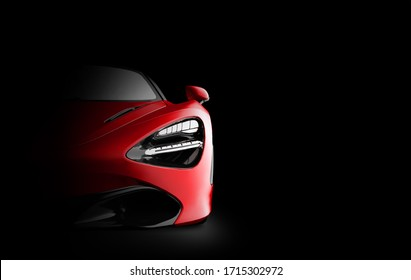 Frontl view of a generic and brandless red car in the dark. 3D illustration
