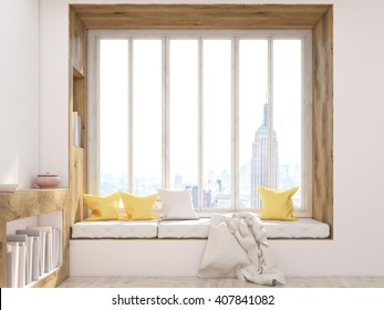 Frontview of interior design with windowsill seat, bookshelves and New York city view. 3D Rendering