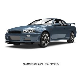 Frost blue urban sports car - beauty shot - 3D Illustration