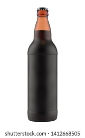 Frosted amber bottle Bomber with a dark liquid. 22oz 660 ml (651 ml) volume. Isolated high resolution 3D render on a white.