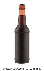 Frosted amber bottle Long Neck with dark liquid. 12oz (11 oz) or 355 ml (330 ml) volume. Isolated high resolution 3D render on a white.