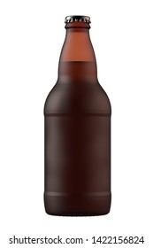Frosted brown amber beer bottle Heritage. 12 oz or 355 ml volume. Isolated high resolution 3d render.