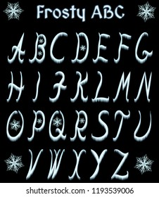 Frosty ABC from capital letters with glowing snowflakes. Alphabet isolated on black background.