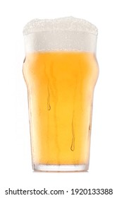 Frosty glass of fresh light beer with bubble froth isolated on a white background. 3D rendering concept of drinking alcohol on holidays, Oktoberfest or St. Patrick's Day