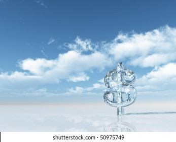 frozen dollar symbol under cloudy blue sky - 3d illustration